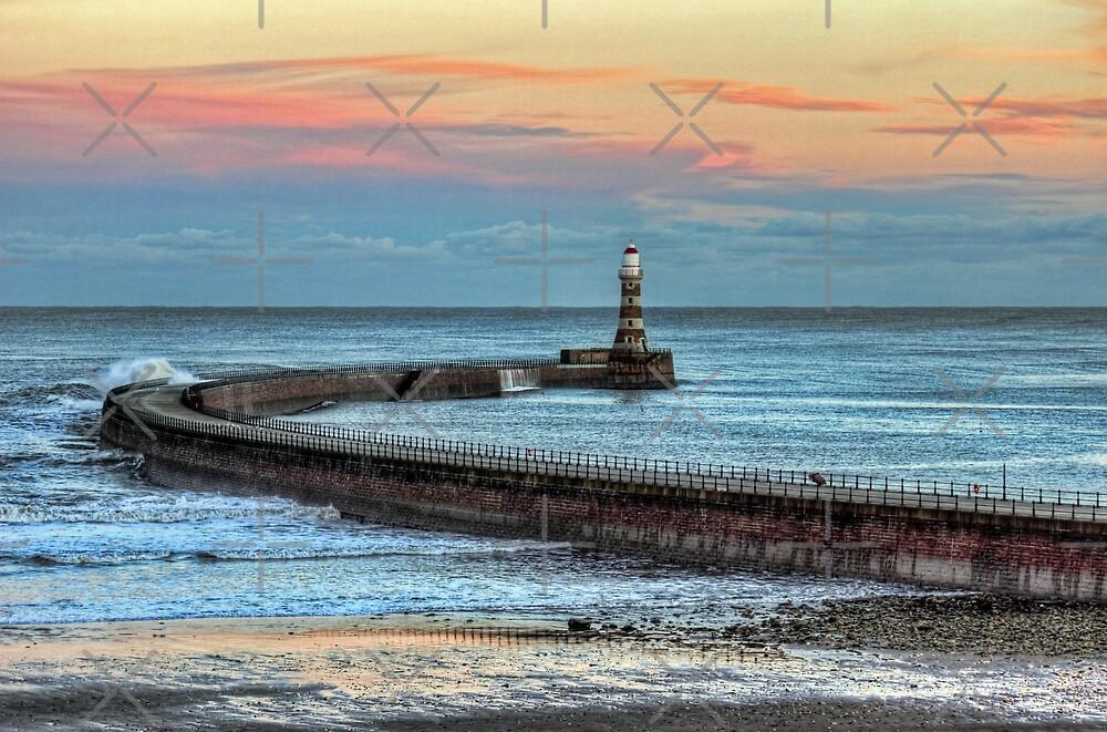 Roker Pier and Lighthouse Sunderland by Avril Harris