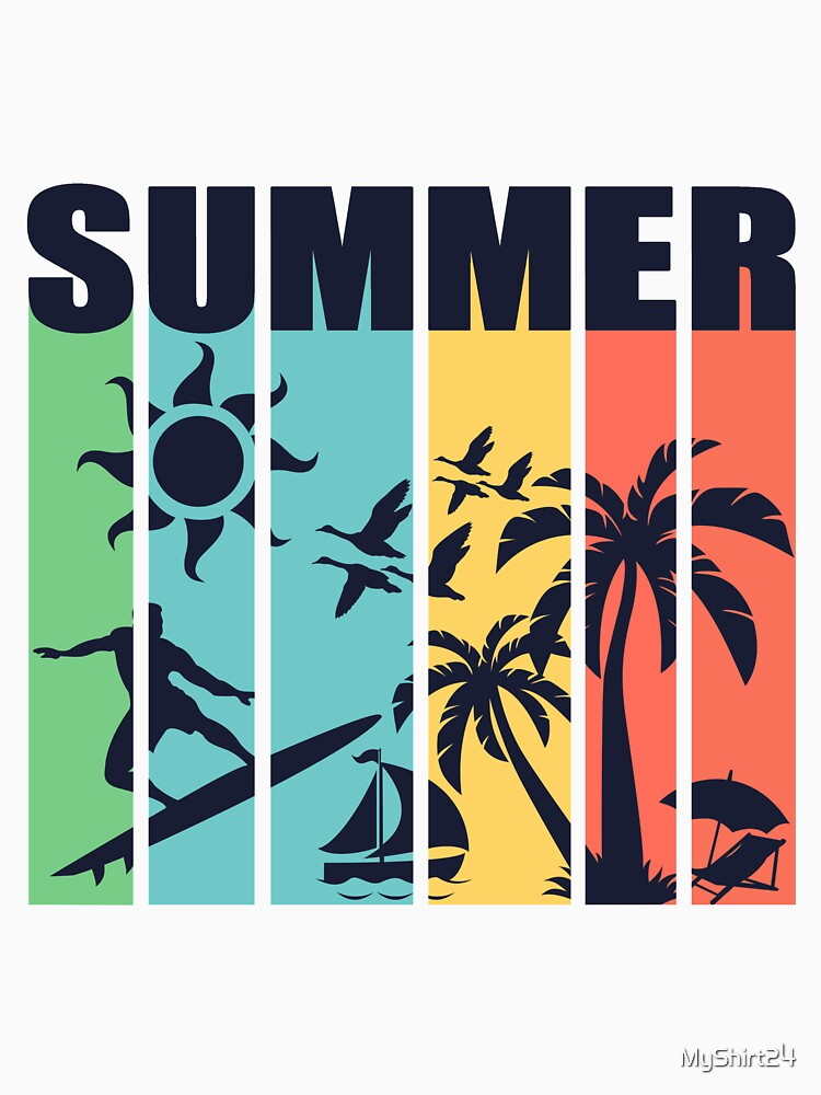 Summer lettering palm trees beach by MyShirt24