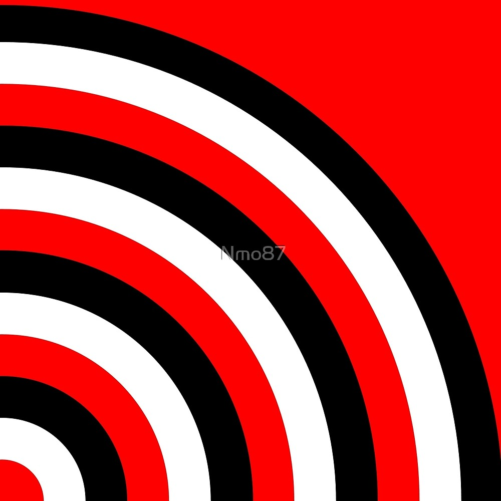 Curved Geometric Lines Red/White/Black by Nmo87