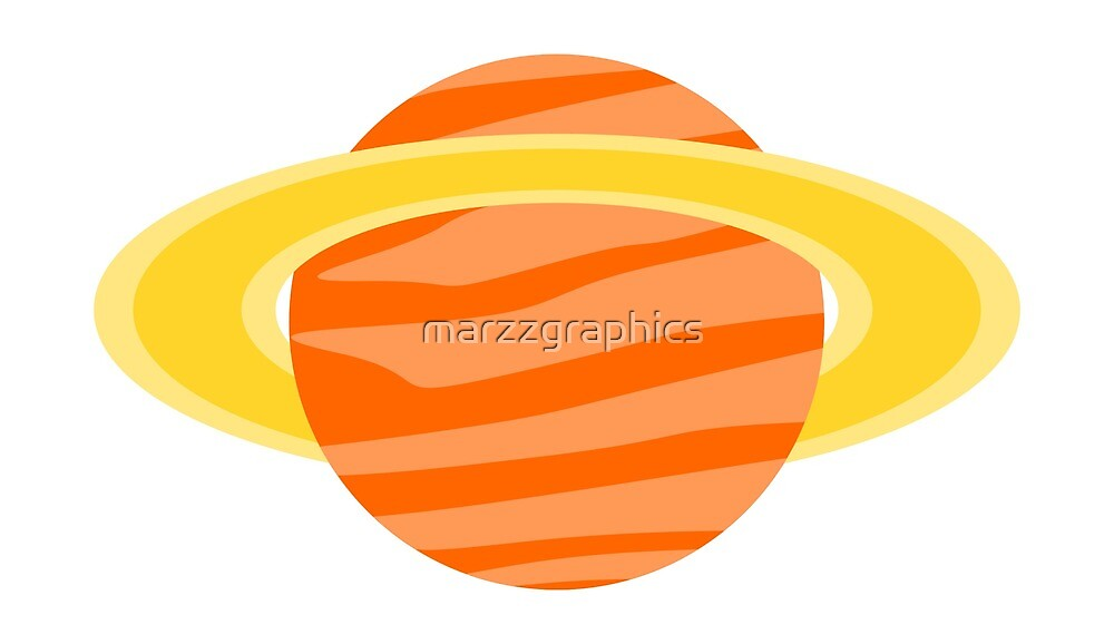 Orange Planet, Planet with Rings, Planet, Solar System, Outer Space, Saturn by marzzgraphics