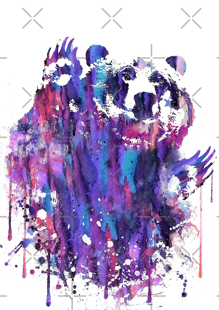 Bear, Grizzly, watercolor Grizzly by Rosaliartbook