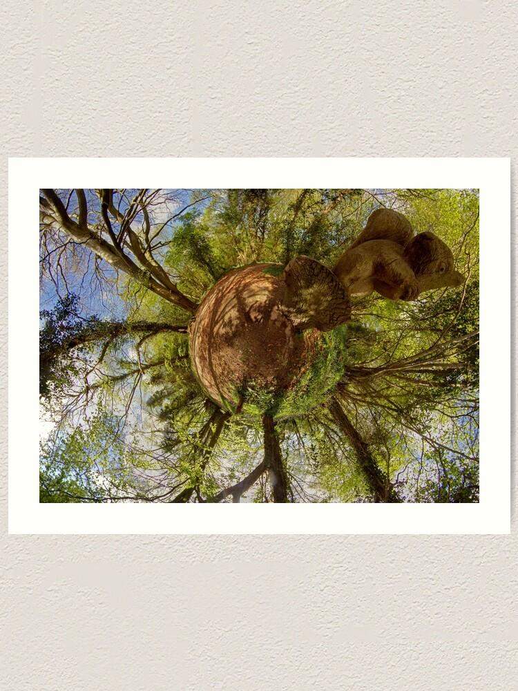Alternate view of Squirrel Sculpture on path through Prehen Woods,  Derry Art Print