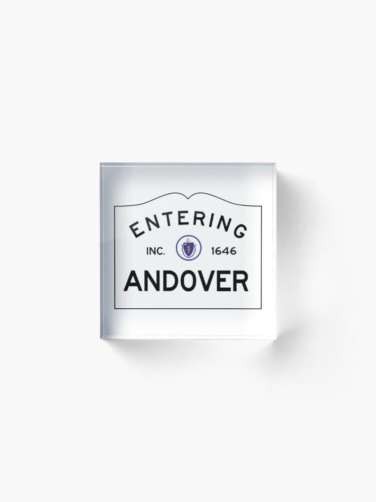 Alternate view of Entering Andover Massachusetts - Commonwealth of Massachusetts road sign. Acrylic Block