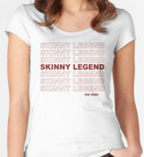Skinny Legend Vintage Shopping Bag Pattern Women's Fitted Scoop T-Shirt