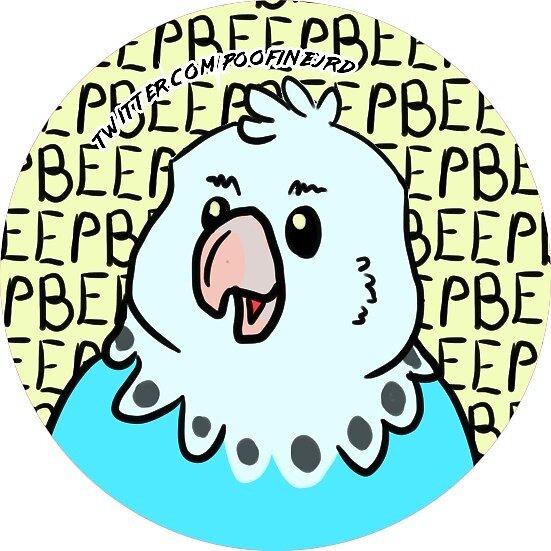 Blue Budgie Parakeet Bird - Beep - Blue Round Ver by poofinburd
