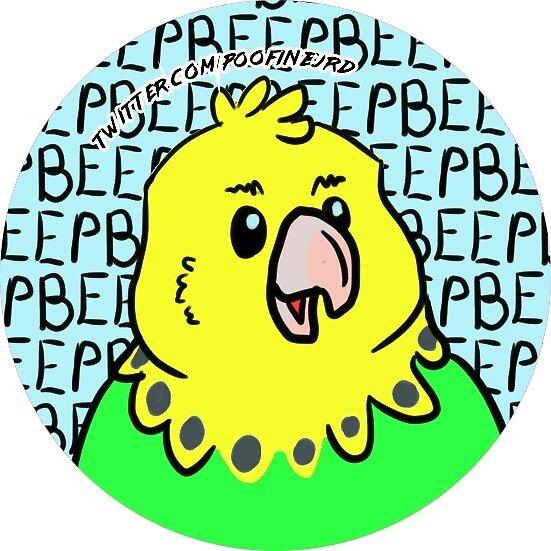 Green Budgie Parakeet Bird - Beep - Green Round Ver by poofinburd