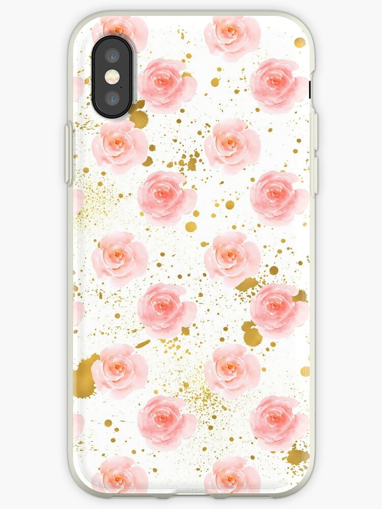Gold Splatters Pink Roses Watercolor by pencreations
