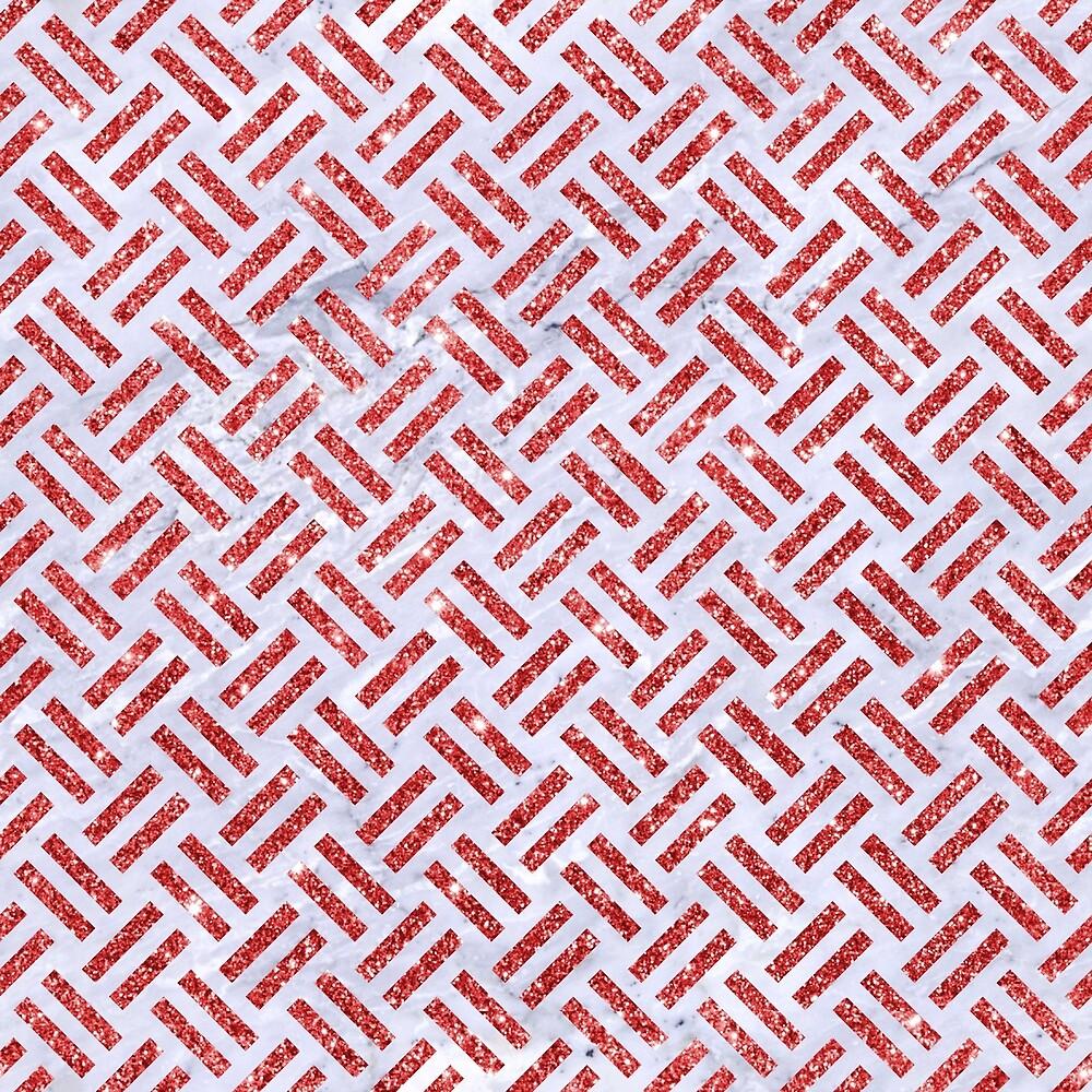 WOVEN2 WHITE MARBLE & RED GLITTER (R) by johnhunternance