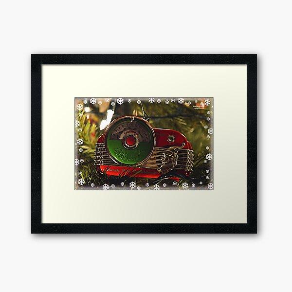 Santa Radio Framed Art Print