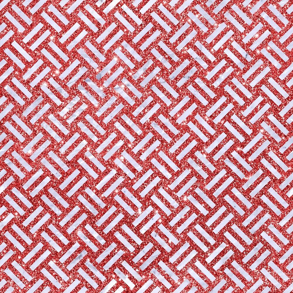 WOVEN2 WHITE MARBLE & RED GLITTER by johnhunternance