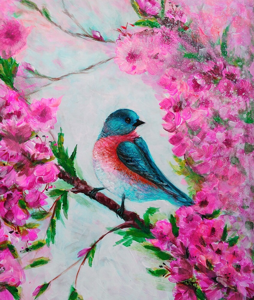 Cherry Blossoms and Blue bird by adriart59