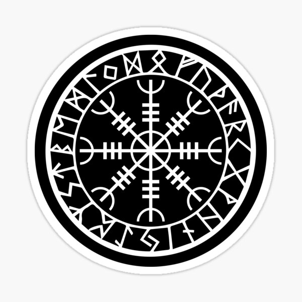 Norse - Helm of Awe White Sticker