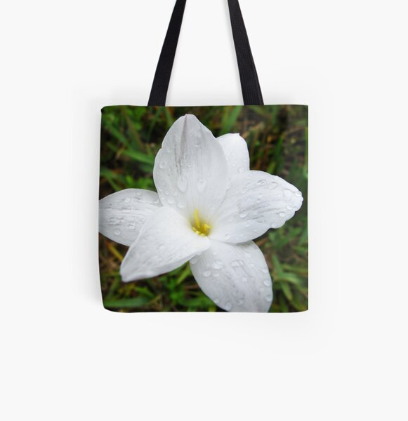 Raindrops on White Flower All Over Print Tote Bag