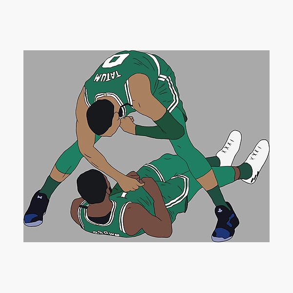Jaylen Brown And Jayson Tatum Celebration Photographic Print