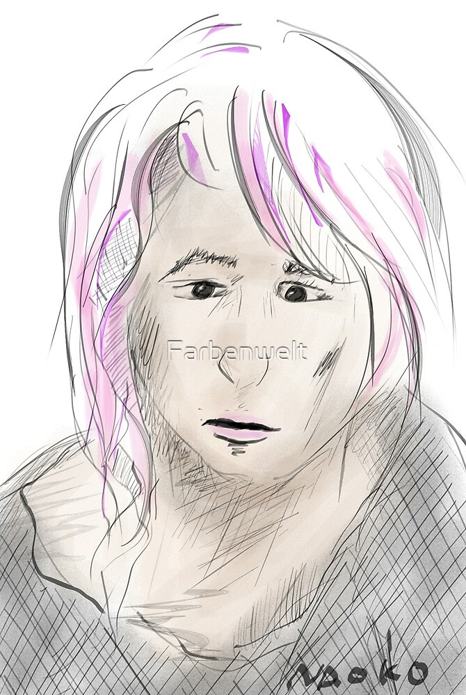 Sad anime girl by Farbenwelt