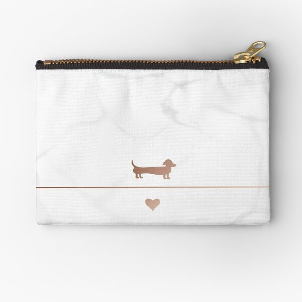 Rose gold and marble dachshund love Zipper Pouch