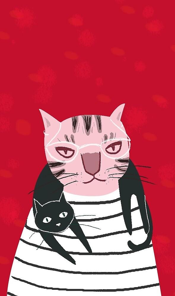 Cat on Cat by PicatsoStore