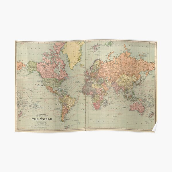 General Map of the World by Stanford year 1922 Poster