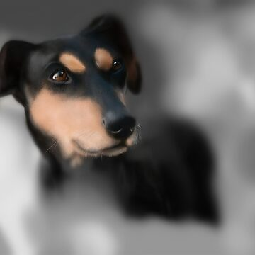Original Art Digital Dog Painting  by nanti