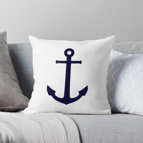 Ancla azul marino en blanco Cojín