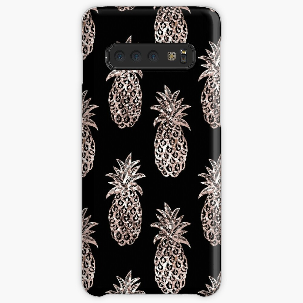 Metallic Pineapple on black fashion & home decor by Magenta Rose Design Case & Skin for Samsung Galaxy