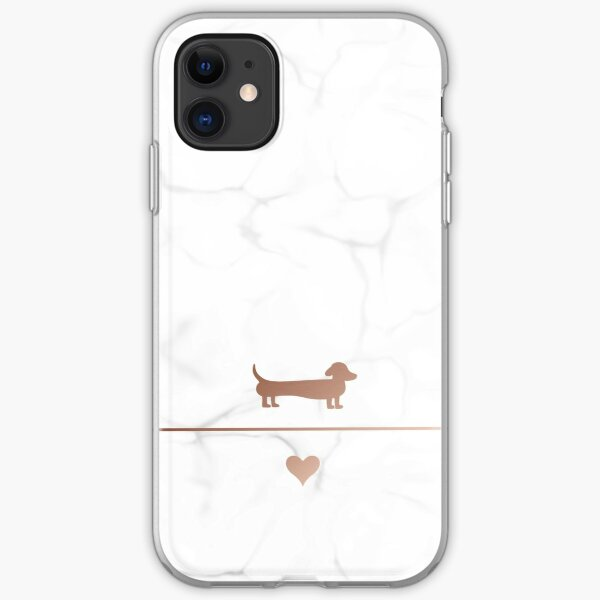Rose gold and marble dachshund love iPhone Soft Case