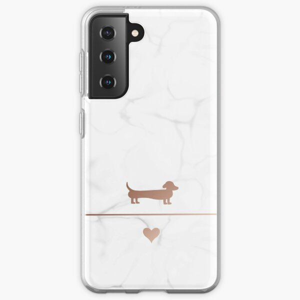 Rose gold and marble dachshund love Samsung Galaxy Soft Case