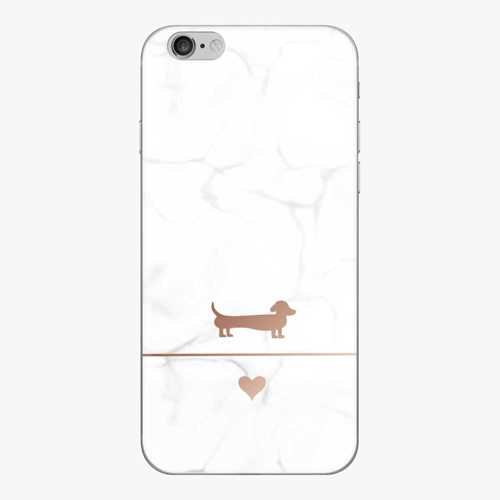 Rose gold and marble dachshund love iPhone Skin
