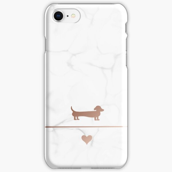 Rose gold and marble dachshund love iPhone Snap Case