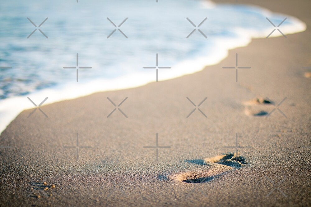 Foot prints on the beach  by Lefteris Betsis