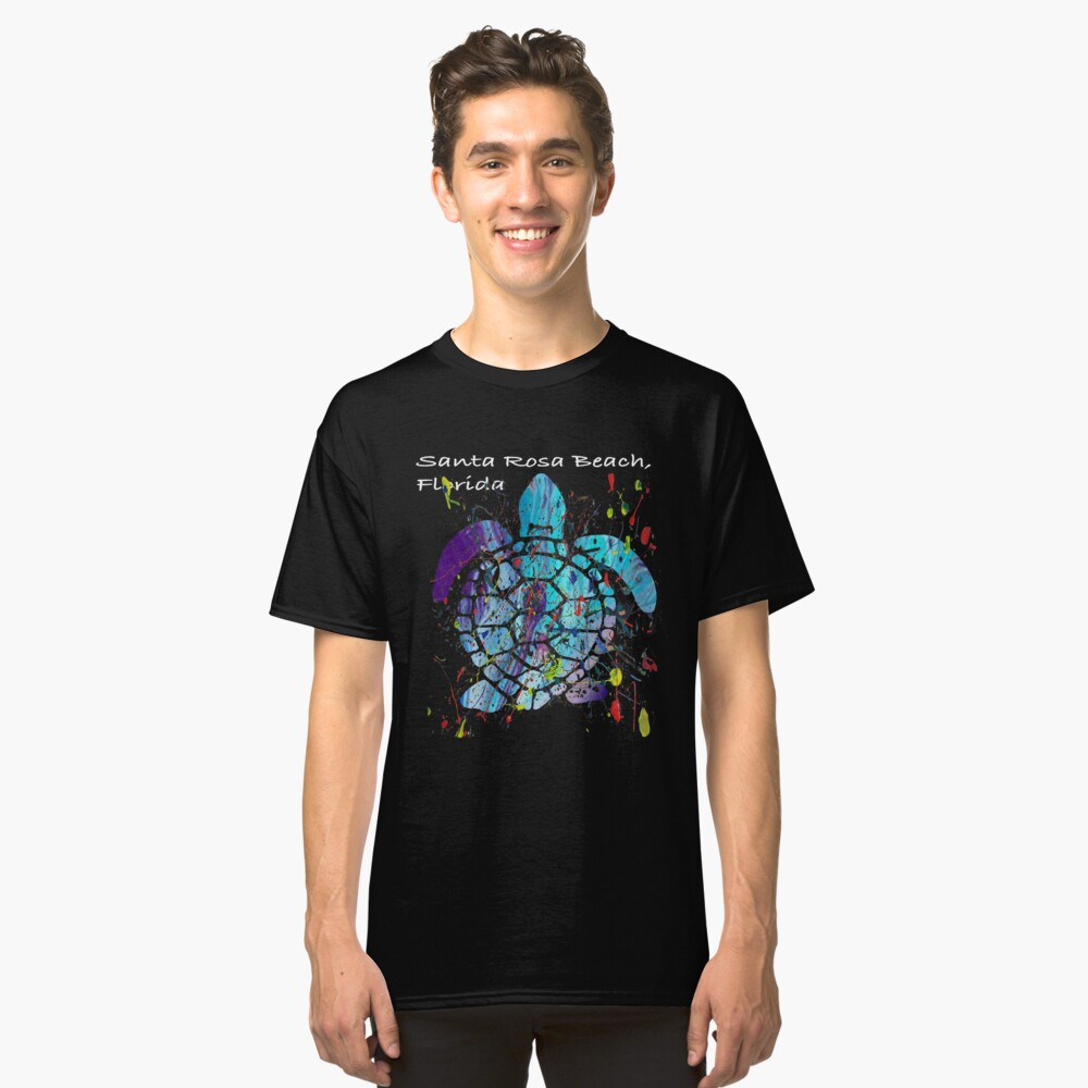 Beach Design Santa Rosa Beach, Florida Abstract Sea Turtle Classic T-Shirt Front