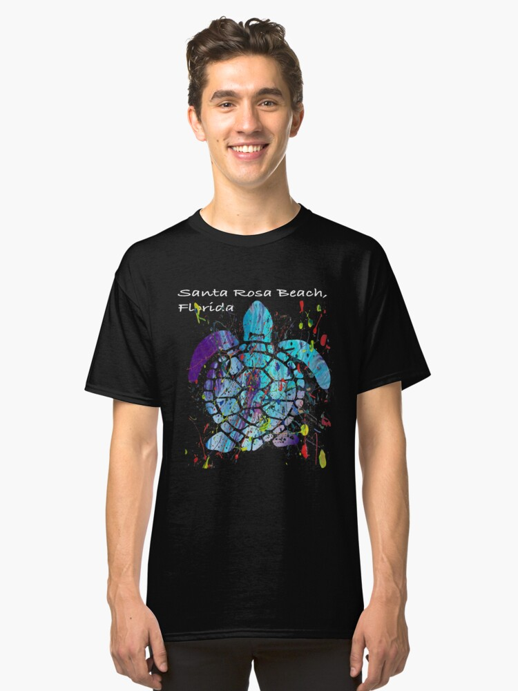 Beach Design Santa Rosa Beach, Florida Abstract Sea Turtle Classic T-Shirt Front
