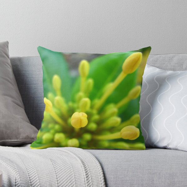 Yellow Buds Throw Pillow