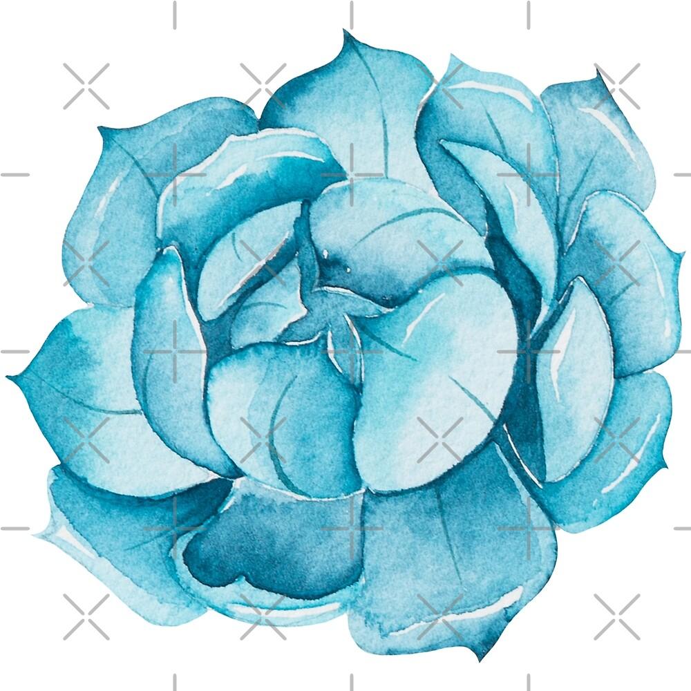 Blue Cacti Boho Illustration by artonwear
