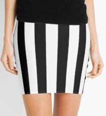 Black and White Striped Mini Skirt