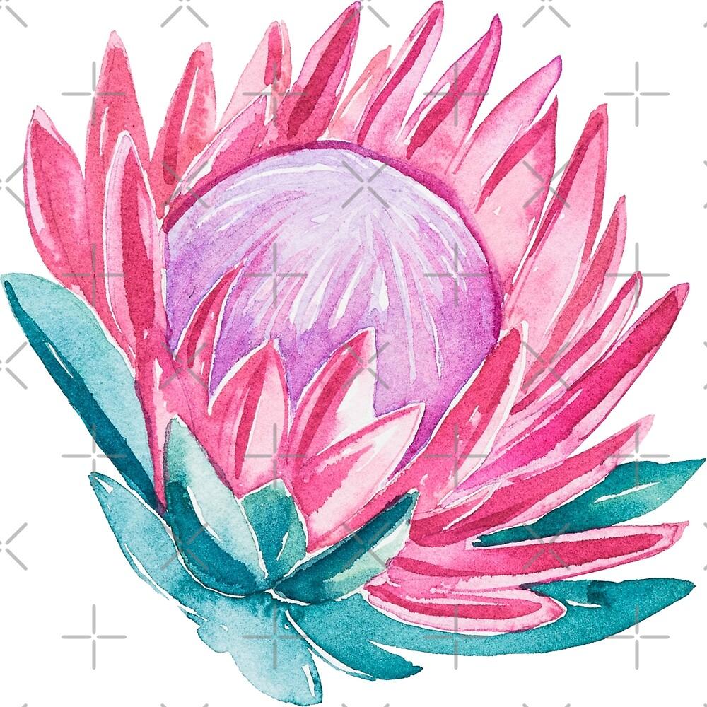 Pink Boho Watercolors Flowers  by artonwear