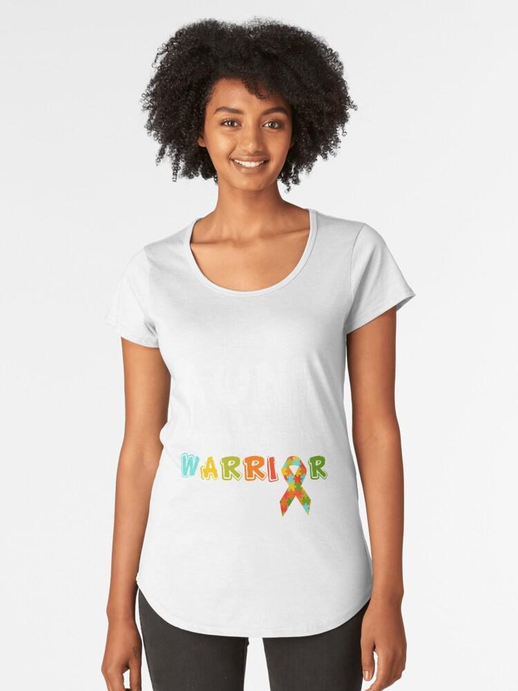 Aunt Of A Warrior Shirt for Autism Awareness Women's Premium T-Shirt Front