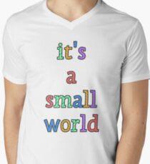 """it's a small world"" fun font Men's V-Neck T-Shirt"