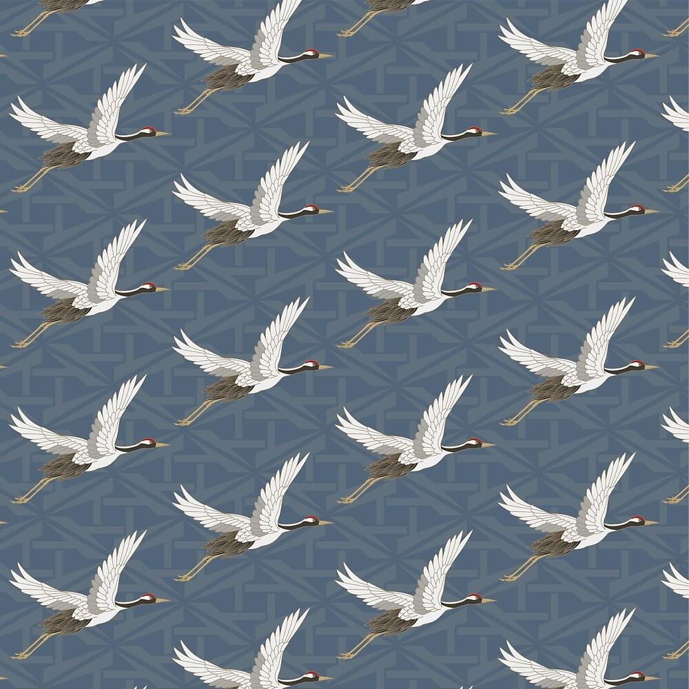 Spring Blue Flying Cranes by nguyen-duc