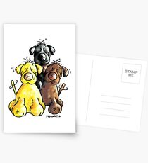 Three Cute Labradors Cartoon Postcards
