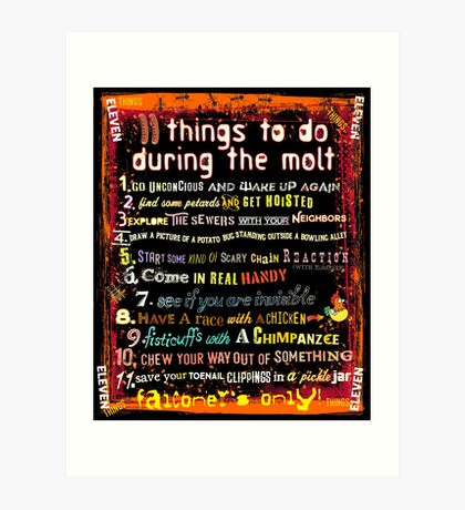 Eleven Things To Do During the Molt - Falconers Only Art Print