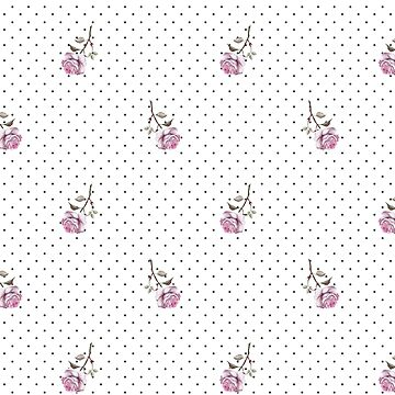 Polka Dots and Pink Roses Pattern by ClaudiaFlores
