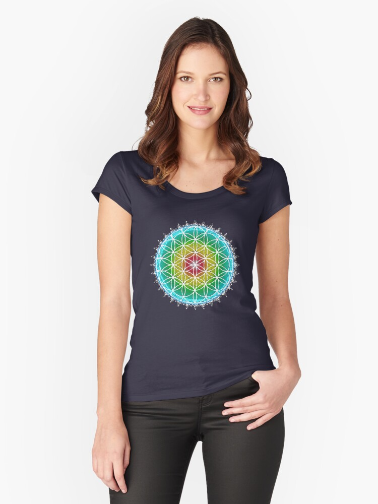 Flower of Life - Sacred Geometry Women's Fitted Scoop T-Shirt Front