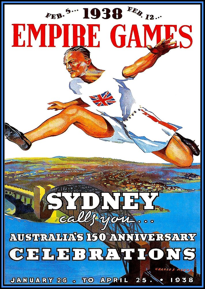 AUSTRALIA : Vintage 1938 Empire Games Advertising Print by posterbobs