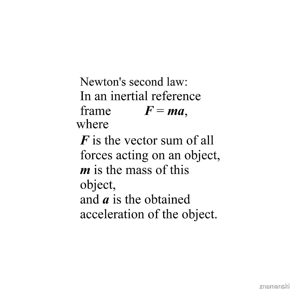 Newton's second law: In an inertial reference frame, F = ma by znamenski