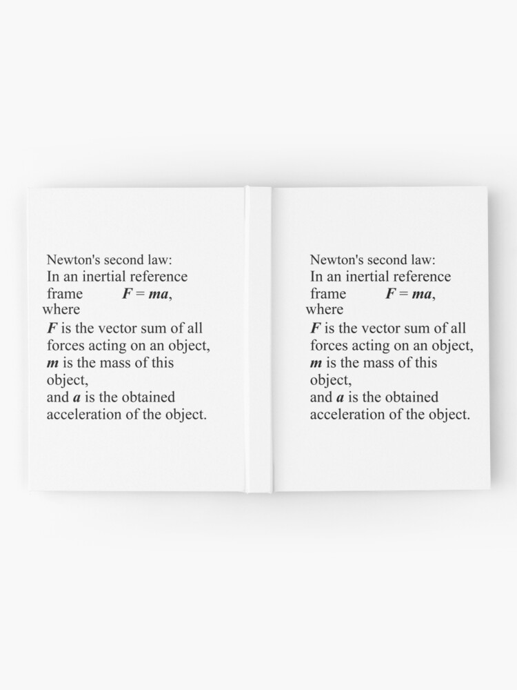 Alternate view of Newton's second law: In an inertial reference frame, F = ma Hardcover Journal