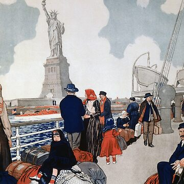 Vintage Immigrants & Statue of Liberty Illustration (1917) by BravuraMedia