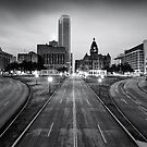 Downtown Dallas Texas Black and White Skyline by Gregory Ballos