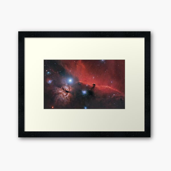 The Horse + Flame Nebula Framed Art Print