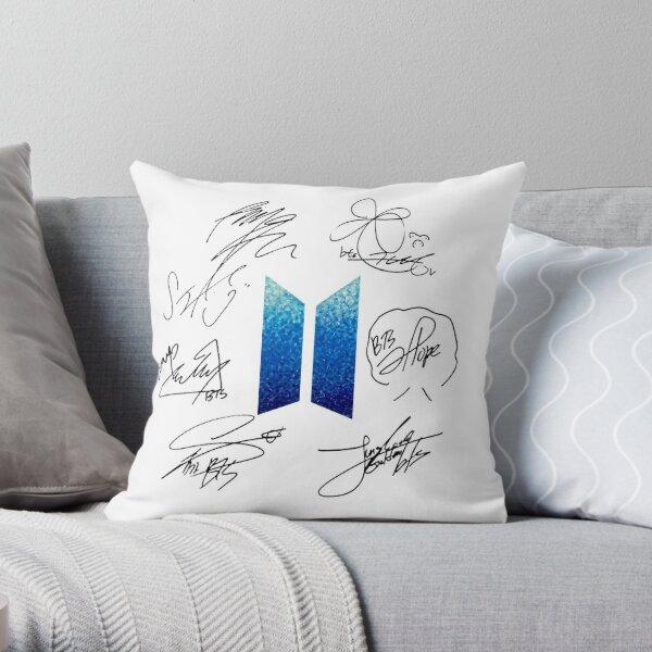 BTS Logo and Signatures Throw Pillow